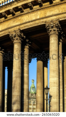 Colonnade of the Kazan Cathedral and Singer house between columns (soft focus processing) - stock photo