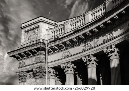 Colonnade of the Kazan Cathedral   (b/w  processing) - stock photo