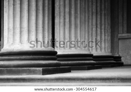 Colonnade of the Kazan Cathedral in Saint-Petersburg, Russia (black and white and soft focus processing)