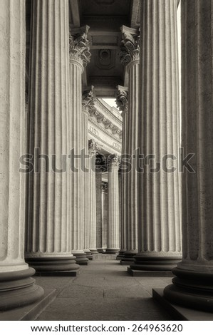 Colonnade of the Kazan Cathedral (sepia and soft focus processing) - stock photo