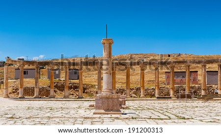 Colonnade on the Roman Oval Forum,  Ancient Roman city of Gerasa, modern Jerash, Jordan