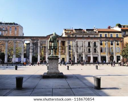 Colonne di San Lorenzo, Milan, Lombardy, Italy - stock photo