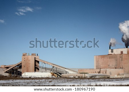 Colonsay Potash Mine in winter - stock photo