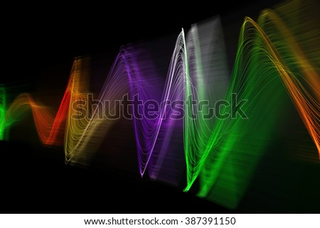 color abstract sound wave on black background
