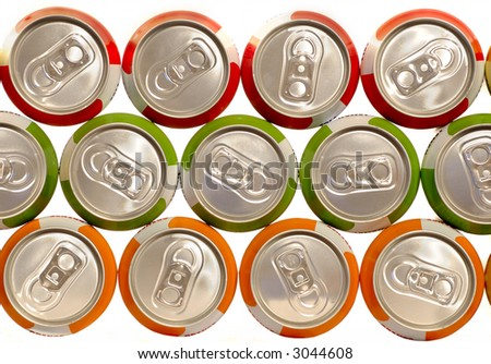 color aluminum drink cans piled - stock photo