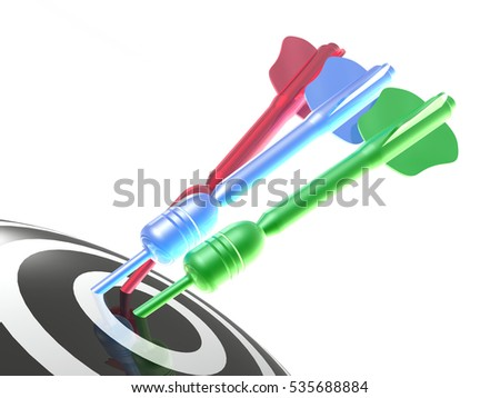 Color arrows on the target, white background, 3D illustration.