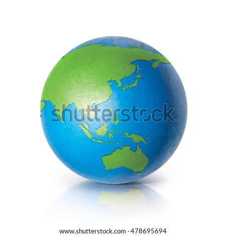 Color Asia & Australia world map 3D illustration on white background