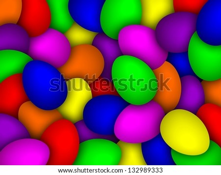 color background with many easter eggs and their shadows