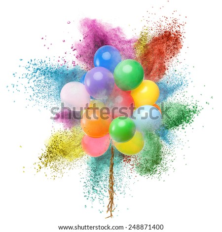 Color balloons and powder explosion isolated on white background - stock photo