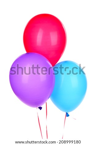 Color balloons, isolated on white - stock photo