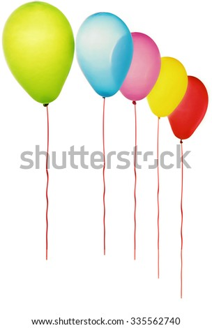 Color balloons isolated on white. - stock photo