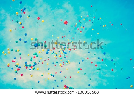 Color Balloons over Turquoise Blue Sky - stock photo