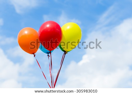 Color balloons with blue sky - stock photo