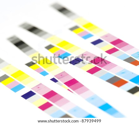 color bar of offset printed sheet - stock photo