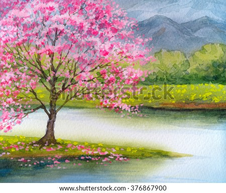 Color beautiful bright watercolour scene in japanese handmade style on paper backdrop with space for text. Blue heaven over lush rose flourish peach seedling on mist island on stream - stock photo