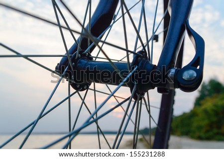 color bike, small parts of bike in sunny day - stock photo