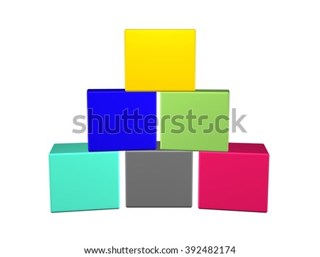 color blank paper box isolated on white background