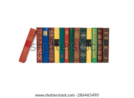 Color books standing upright are isolated white background - stock photo