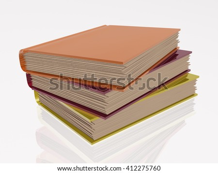 Color books, white reflective background. - stock photo