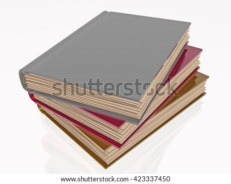 Color books, white reflective background. 3D rendering - stock photo