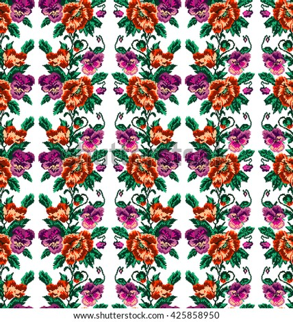Color  bouquet of flowers (poppies and pansies) using traditional Ukrainian embroidery elements.Orange, violet, pink and green tones Seamless pattern. Can be used as pixel-art.  - stock photo