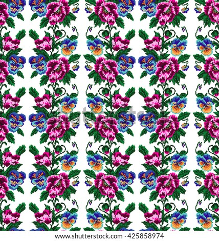 Color  bouquet of flowers (poppies and pansies) using traditional Ukrainian embroidery elements.Pink,vinous,blue, yellow and green tones. Seamless pattern. Can be used as pixel-art.  - stock photo