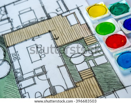 Color box on watercolor freehand sketch drawing of home floor plan / Real estate business & architecture house furnishing decoration design concept