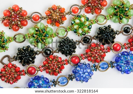 color bracelets from beads - stock photo