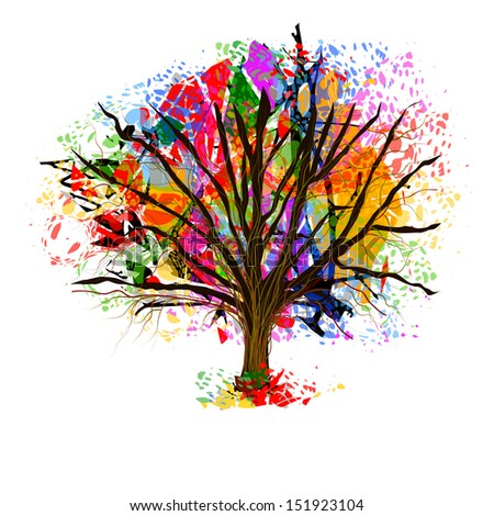 Color bright tree from paint spots. Raster - stock photo