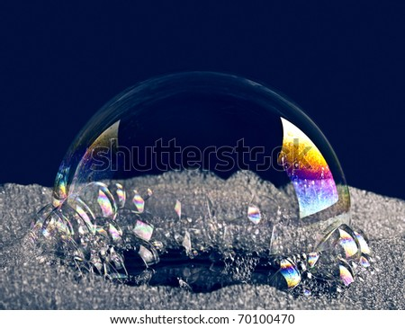 Color bubble on a dark background - stock photo