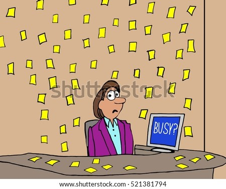 Color business illustration of a businesswoman's office that is covered with yellow sticky notes.