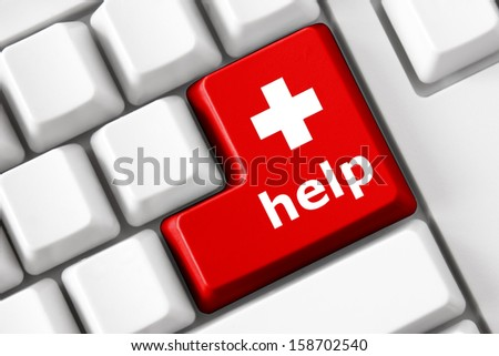 Color button on the keyboard with medicine image and help  text. Health care concept - stock photo