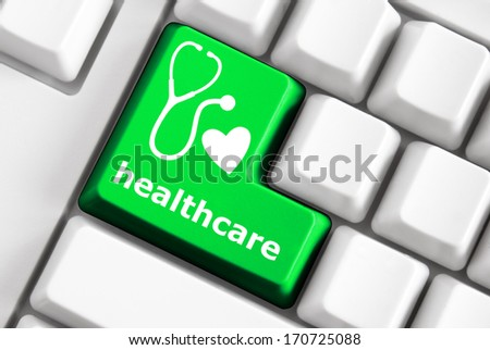 Color button on the keyboard with puzzle image and concept text - stock photo