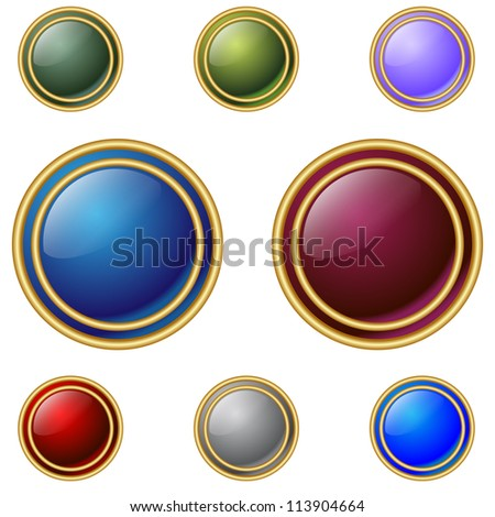 Color buttons with double gold rings