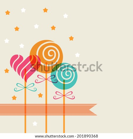 Color candy in heart swirl shape and banner. Decorative background for print, web - stock photo