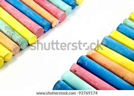 Color chalks with copy space