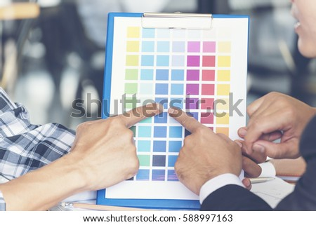 Color Chart Engineer Building Contractor Talking Stock Photo