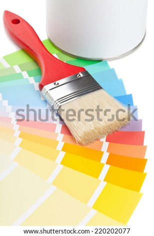 Color chart guide with brush and paint bucket on white background