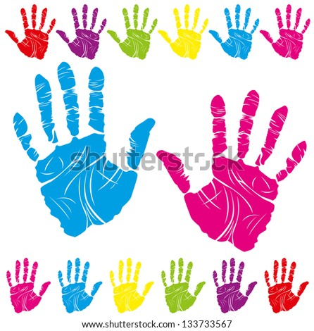 color children and parents hand print means different symbols