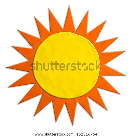 Color children's sun plasticine on a white background  - stock photo