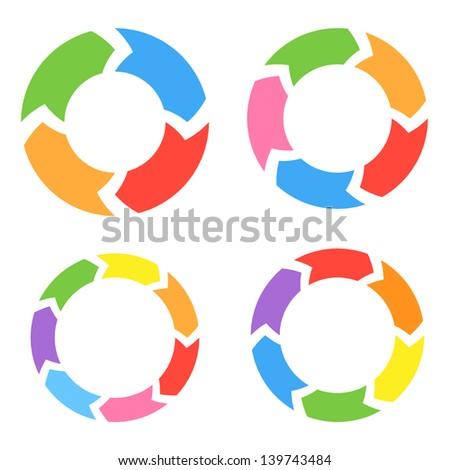 Color Circle Arrows Set. Raster Version - stock photo
