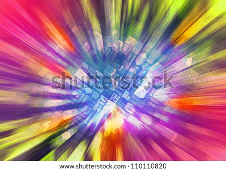 Color city background - stock photo