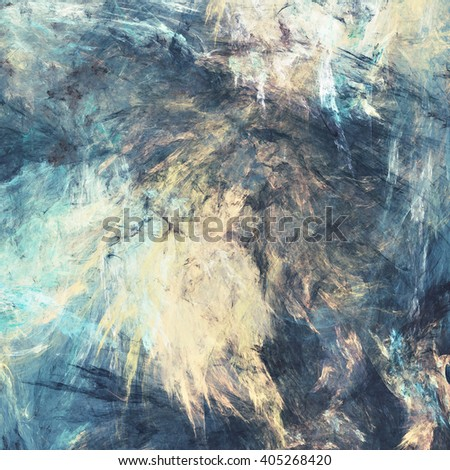Color clouds. Artistic splashes of bright paints. Abstract blue color background with lighting effect. Modern bright painting texture for creative graphic design. Shiny pattern. Fractal artwork