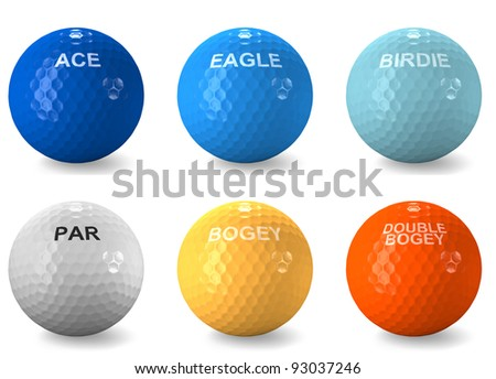 Color coded balls denominating a golf score as an ace, eagle, birdie, par, bogey and double bogey - stock photo