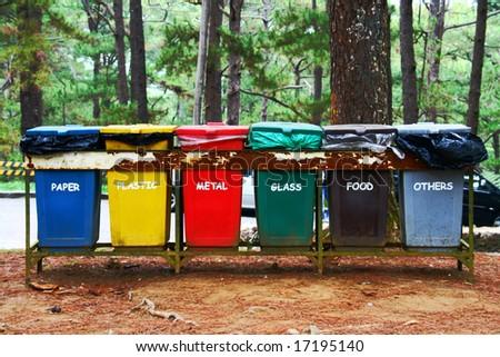 color coded trash bins for waste segregation - stock photo