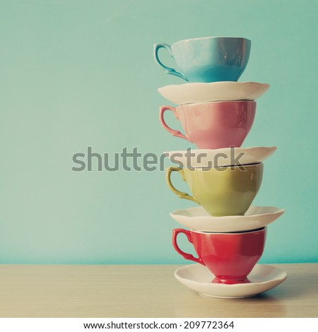 Color coffee cups  - stock photo