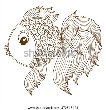 Zentangle stylized gold fish hand drawn stock vector for Colorful fish book