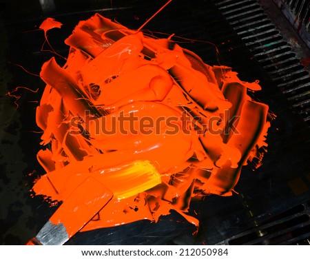 Color copier toner Orange - stock photo
