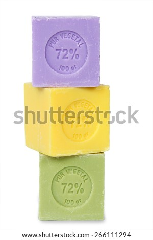color cube of soap - isolated on white background - stock photo