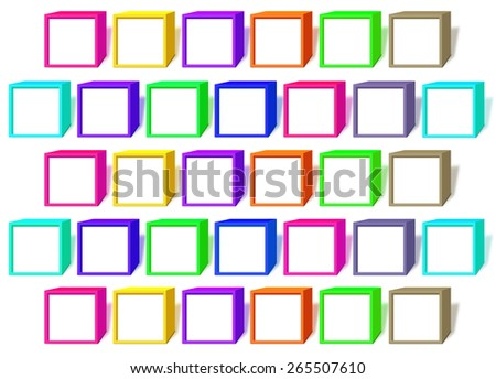 Color cubes with a windows on a white background - stock photo